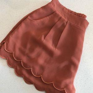 Scalloped burnt orange shorts